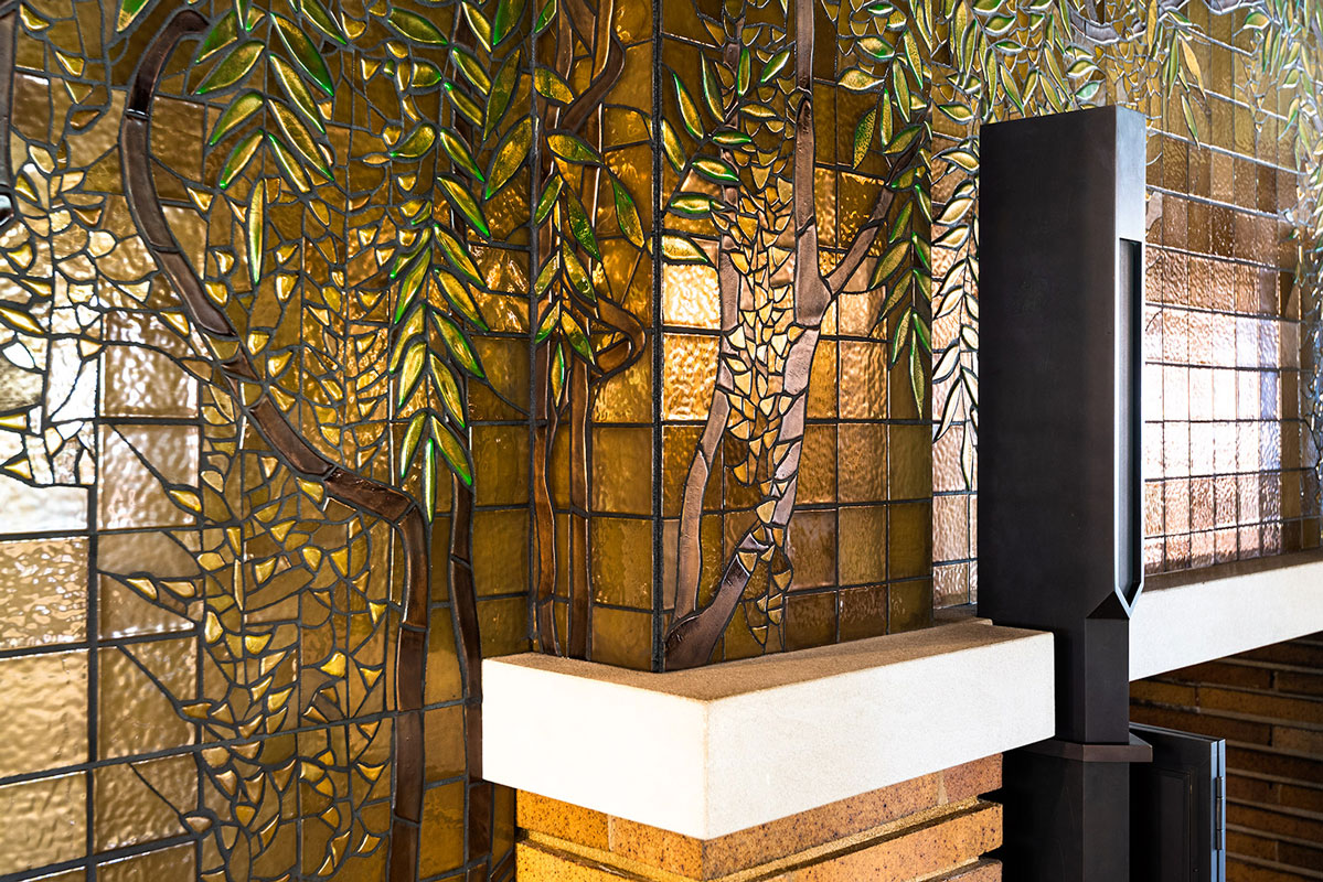 Wisteria Mosaic Tiles on Fireplace